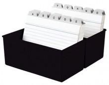 Karteibox A6 quer f.400 Karten schwarz 165x95x143mm