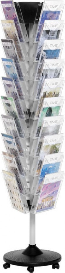 Prospektbodenständer 30FächerA4 drehbar 440x440x1720 mm, glasklar