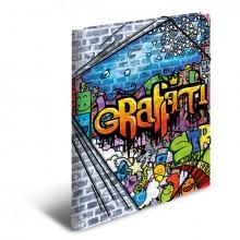 Sammelmappe A4 Graffiti, PP mit Gummizug, 3 Innenklappen