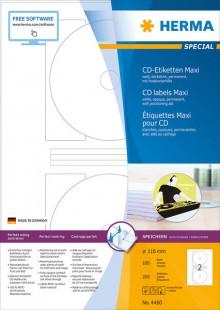 Etikett CD I+L+K 116mm ws 200St 100 Blatt, Maxi