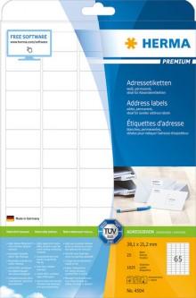 Adressetiketten Premium A4 38,1 x 21,2 mm, runde Ecken, weiß, 1625 stk.