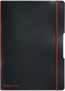Notizheft flex PP, liniert + kariert (je 40 Blatt), Papier 80g, schwarz,