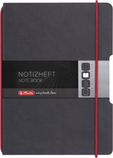Notizheft flex Leder, A5, kariert 40 Blatt, Papier 80g, schwarz, mit