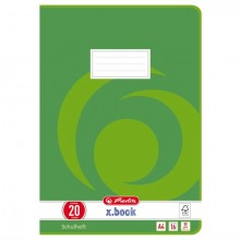 Heft A4, 16 Blatt, 80g, LIN 20 blanko, FSC Mix, Wirbel grün