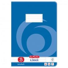 Heft A4, 16 Blatt, 80g, LIN 25 liniert m.R., FSC Mix, Wirbel blau