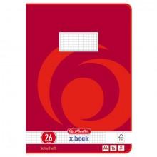 Heft A4, 16 Blatt, 80g, LIN 26 kariert m.R., FSC Mix, Wirbel rot