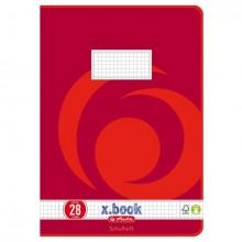 Heft A4, 16 Blatt, 80g, LIN 28 kariert m.R., FSC Mix, Wirbel rot