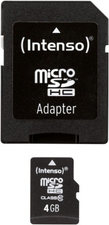 Micro-SDHC Speicherkarte 4GB 10MB/s Class 10, mit SD-Adapter