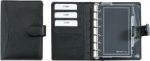 Bind Systemplaner A7 Nappaleder sw ohne Kalender, mit Druckknopf