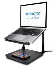 Laptopständer SmartFit, schwarz, mit kabellosem Handyladepad,