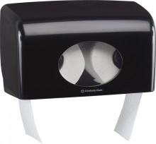 Toilettenpapierspender doppel, schwarz, Aquarius, für Kleinrollen