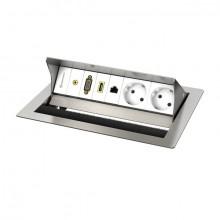 CablePort standart 2 Tischgehäuse, 2-fach edelstahlgebürstet