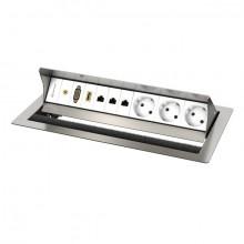 CablePort standart 2 Tischgehäuse, 6-fach edelstahlgebürstet