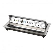 CablePort standart 2 Tischgehäuse, 6-fach QS 3.0, edelstahlgebürstet