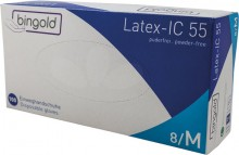 Latexhandschuhe Bingold, 100er Box, Größe M, weiß, puderfrei, polymerbe-