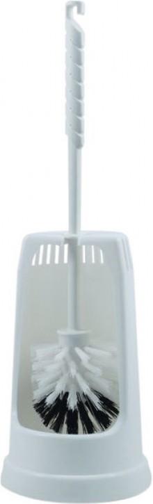 WC Garnitur Plastik GLOCKENFORM Ständer mit Bürste, weiß