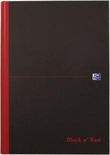 Gebundenes Buch A4, 70 Blatt, kariert mit Lesezeichenband, schwarz,
