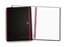 Spiralbuch A4, 70 Blatt, kariert mit roter Doppelspirale, schwarz,