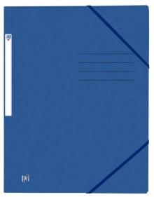Eckspannmappe, DIN A4, 390g, blau 3 Einschlagklappen, Gummiband,