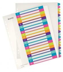 Register PC-beschriftbar A4, 1-20, mehrfarbig