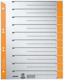 Trennblätter Karton A4 grau/orange Lochung hinterklebt, Linienaufdruck