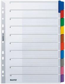 Kartonregister A4 10-Teilig grau Farbige Tabe