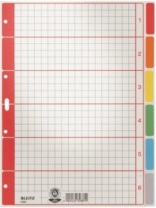 Register Blanko A4 Farbtab. 6Bl gr 230g/qm Karton farbig bedruckt