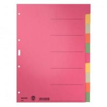 Kartonregister A4 10-Teilig 5-farbig durchgefärbt, blanko