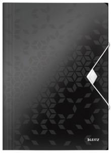 WOW Eckspannmappe, PP, schwarz für DIN A4, für ca. 150 Blatt