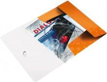 Eckspannermappe A4 WOW, PP, orange metallic, 3 Schutzklappen