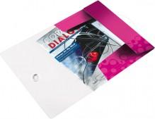 Eckspannermappe A4 WOW, PP, pink metallic, 3 Schutzklappen