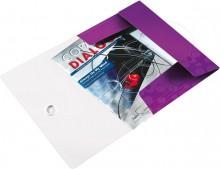 Leitz Eckspannmappe in violettmetallic mit eingelegten Unterlagen