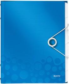 Ordnungsmappe A4 WOW, PP, 6 Fächer, blau metallic, 3 Klappen