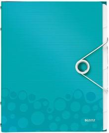 Ordnungsmappe A4 WOW, PP, 6 Fächer, eisblau metallic, 3 Klappen