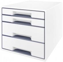Ablagebox WOW Cube 4 Schubladen, weiß/grau, mit Auszugstopp und