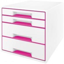 Ablagebox WOW Cube 4 Schubladen, weiß/pink, mit Auszugstopp und