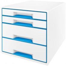 Ablagebox WOW Cube 4 Schubladen, weiß/blau, mit Auszugstopp und