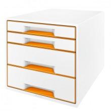 Ablagebox WOW Cube 4 Schubladen, weiß/orange, mit Auszugstopp und