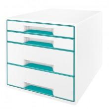 Ablagebox WOW Cube 4 Schubladen, weiß/eisblau, mit Auszugstopp und
