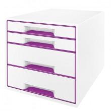 Ablagebox WOW Cube 4 Schubladen, weiß/violett, mit Auszugstopp und