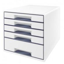 Ablagebox WOW Cube 5 Schubladen, weiß/grau, mit Auszugstopp und