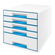 Ablagebox WOW Cube 5 Schubladen, weiß/blau, mit Auszugstopp und