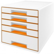 Ablagebox WOW Cube 5 Schubladen, weiß/orange, mit Auszugstopp und