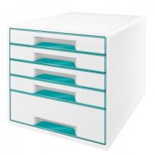 Ablagebox WOW Cube 5 Schubladen, weiß/eisblau, mit Auszugstopp und