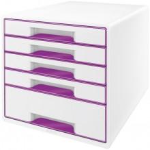 Ablagebox WOW Cube 5 Schubladen, weiß/violett, mit Auszugstopp und