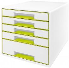 Ablagebox WOW Cube 5 Schubladen, weiß/grün, mit Auszugstopp und