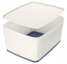 MyBox 18l, mittel, mit Deckel, weiß/grau, 318x198x385mm,