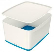 MyBox 18l, mittel, mit Deckel, weiß/blau, 318x198x385mm,
