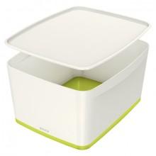 MyBox 18l, mittel, mit Deckel, weiß/grün, 318x198x385mm,