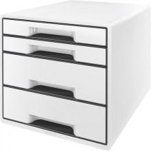 Ablagebox Cube 4 Schubladen, weiß, mit Auszugstopp und transparentem